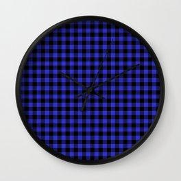 Original Cornflower Blue and Black Rustic Cowboy Cabin Buffalo Check Wall Clock