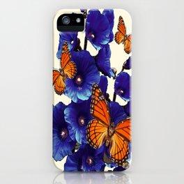 Monarch Butterflies Blue Hollyhocks  Cream Color Modern Art iPhone Case
