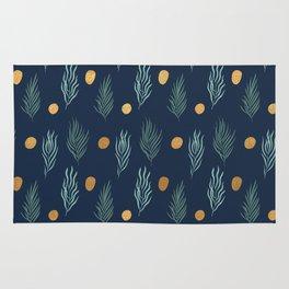 Gold dot and deep blue leaf pattern Rug