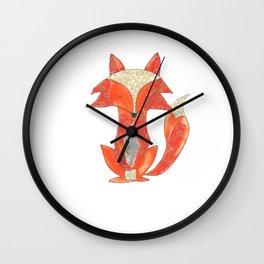 Orange Zen Fox Wall Clock