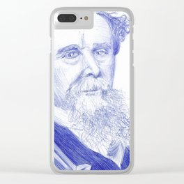 Charles Dickens Portrait In Blue Bic Ink Clear iPhone Case