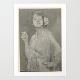 Ms. Brandes with cigarette, and rose in her, Jacob Merkelbach, 1910 - 1919 Art Print