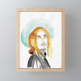 Judy with a Mint-Coloured Hat Framed Mini Art Print