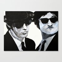blues brothers Canvas Prints featuring Blues Brothers Painting by Megan Oliveri Designs