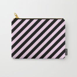 Pink Lace Pink and Black Diagonal RTL Stripes Carry-All Pouch