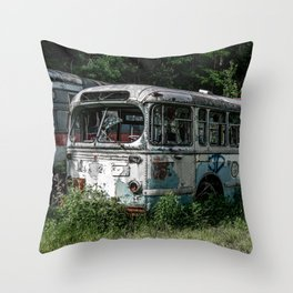 Abandoned Bus Broken and Abused Rusty Car Throw Pillow