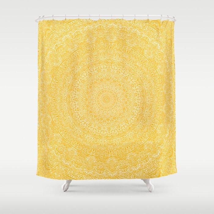 The Most Detailed Intricate Mandala (Mustard Yellow) Maze Zentangle Hand Drawn Popular Trending Shower Curtain