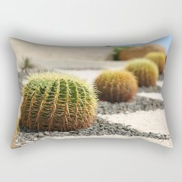 Row of green giant cacti. Outdoor landscape decoration Rectangular Pillow