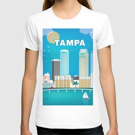 Tampa, Florida - Skyline Illustration by Loose Petals T-shirt