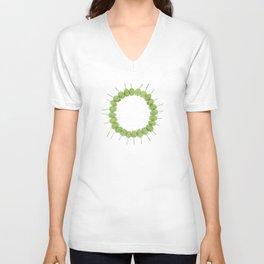 Green Wildflower Circle Unisex V-Neck
