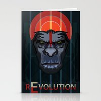 planet of the apes Stationery Cards featuring Dawn of the Apes by milanova