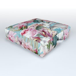 Vintage & Shabby Chic - Flower Dance And Birds On Teal Outdoor Floor Cushion
