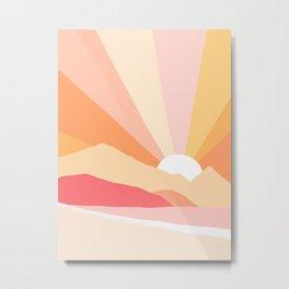 Sunny Coastal Retro Rainbow Metal Print