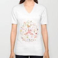 child V-neck T-shirts featuring child garden by Danse de Lune