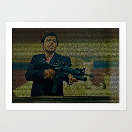 Text Portrait of Tony Montana with Full Script of Scarface Art Print