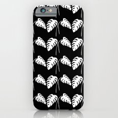 Tropical Monstera Leaves White on Black iPhone 6s Slim Case