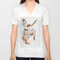 llama V-neck T-shirts featuring Llama by Bryan McKinney