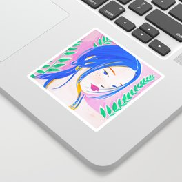 Girl and Aroid Palm Sticker