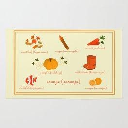 Colors: orange (Los colores: naranja) Rug