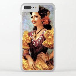 Mexican Golden Flamenco Calendar Girl by Jesus Helguera Clear iPhone Case