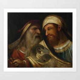 """Circle of Giorgio de Castelfranco called Giorgione """"Two Philosophers"""" Art Print"""