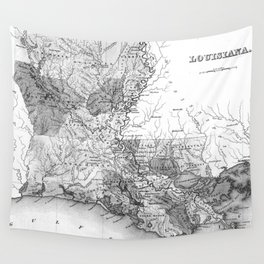 Vintage Map of Louisiana (1838) BW Wall Tapestry