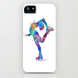 Ice Skating Girl Colorful Watercolor Art Sports Art Gift iPhone Case