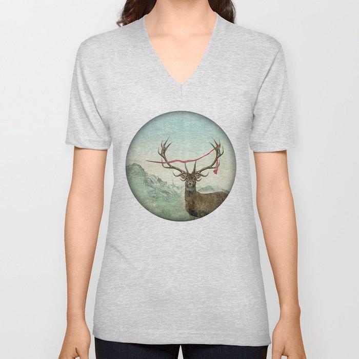 hold deer, tsunami Unisex V-Neck