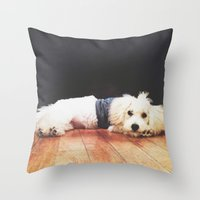 chuck Throw Pillows featuring Chuck by courtneeeee