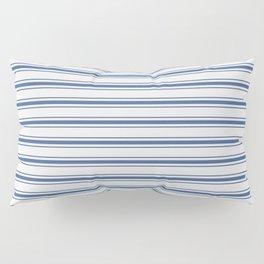 Mattress Ticking Wide Horizontal Stripe in Dark Blue and White Pillow Sham