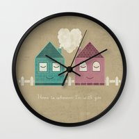 home sweet home Wall Clocks featuring Home by Teo Zirinis