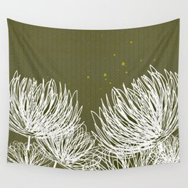 Olive Doodle Floral by Friztin Wall Tapestry