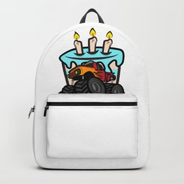 Kids Birthday Boy Monster Truck Crushing Cake design Gift Backpack