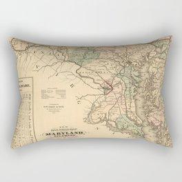 Vintage Maryland Railroad Map (1876) Rectangular Pillow