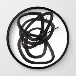 Black And White Minimalist Mid Century Abstract Ink Art Circle Swirls Black Circles Minimal Wall Clock