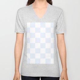 Large Checkered - White and Pastel Blue Unisex V-Neck
