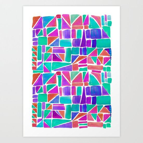 Watercolour Shapes Art Print