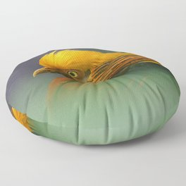 Emerging from the Green: Golden-Red Pheasant Floor Pillow