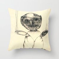 teddy bear Throw Pillows featuring Teddy bear by Attila Hegedus