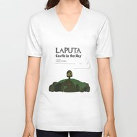 castle in the sky V-neck T-shirts featuring Laputa Castle in the Sky by okayleigh