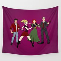 buffy Wall Tapestries featuring Cartoony Buffy and the gang by Nana Leonti