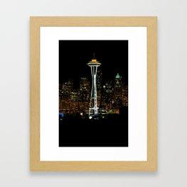 Seattle Skyline at Night Framed Art Print