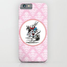 Alice in Wonderland   The Herald of the Court of Hearts   White Rabbit   Pink Damask Pattern   iPhone Case