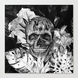 Black White Boho Skull Canvas Print