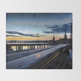 Stockholm Night - Slussen Throw Blanket