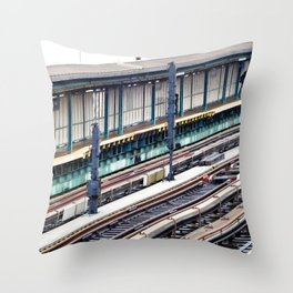 Train platform at Bay 50 street Throw Pillow