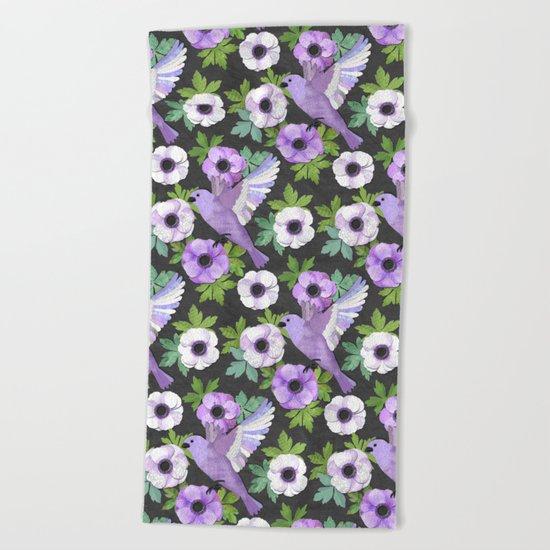 Purple Paper Anemone Collage Beach Towel