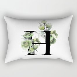 Letter 'H' Helleborus Flower Typography Rectangular Pillow