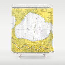 Vintage Map of Lake Pontchartrain (1971) Shower Curtain