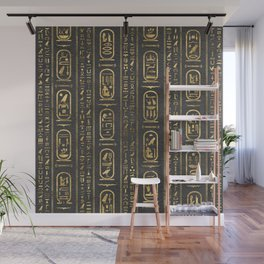 Egyptian hieroglyphs Gold on Leather Wall Mural